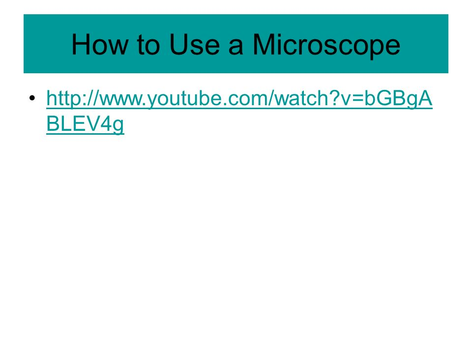 How to Use a Microscope http://www.youtube.com/watch v=bGBgABLEV4g