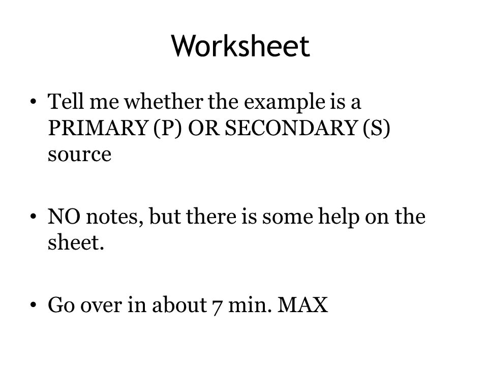 PrimarySecondary Sources ppt video online download – Primary Secondary Sources Worksheet