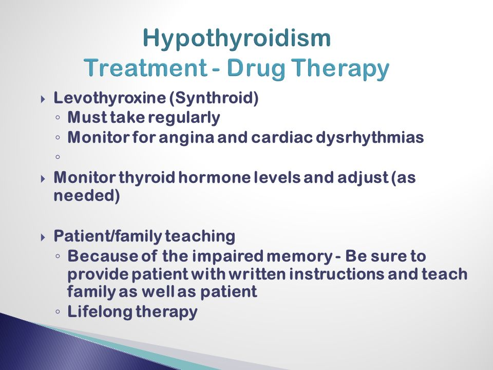 Hypothyroidism Treatment Drug Therapy on Endocrine System Disorders
