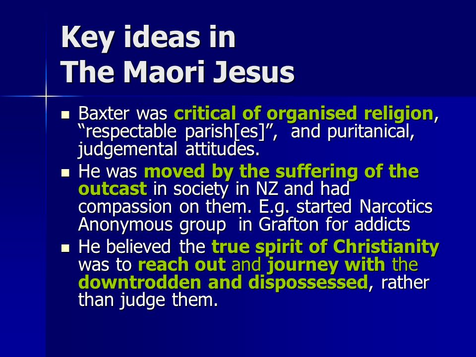 the maori jesus by james k baxter Get this from a library selected poems of james k baxter [james k baxter paul millar athena sommerfeld] -- with a range of poems from the 1940s, 1950s, 1960s and.