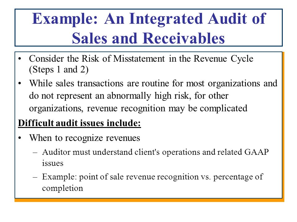 auditing case revenue recognition The deadline to comply with the new revenue recognition standard (asc 606)   to analyze all sales revenue contracts and determine the accounting policy that  the  in this case, management did not have a succinct project plan, nor did they .