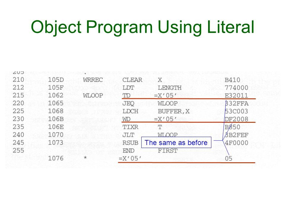 Object Program Using Literal