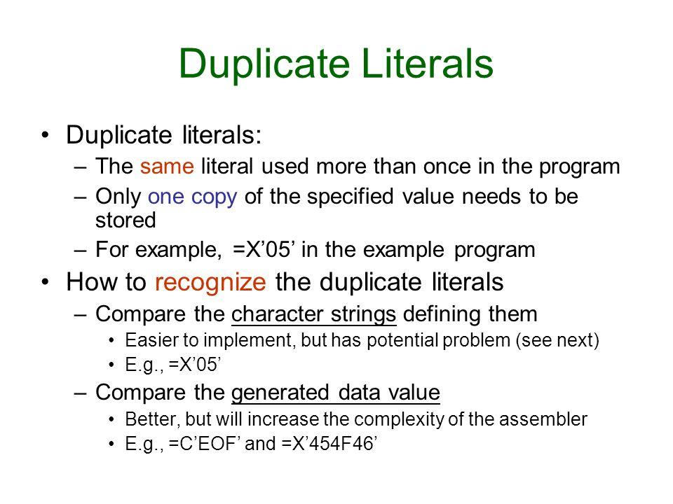 Duplicate Literals Duplicate literals:
