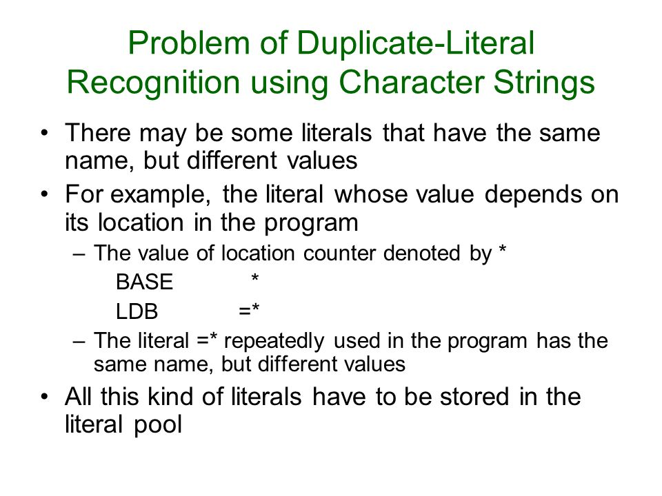 Problem of Duplicate-Literal Recognition using Character Strings