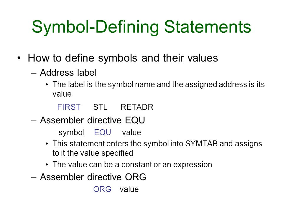 Symbol-Defining Statements