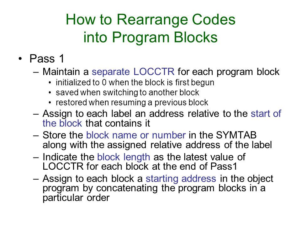 How to Rearrange Codes into Program Blocks