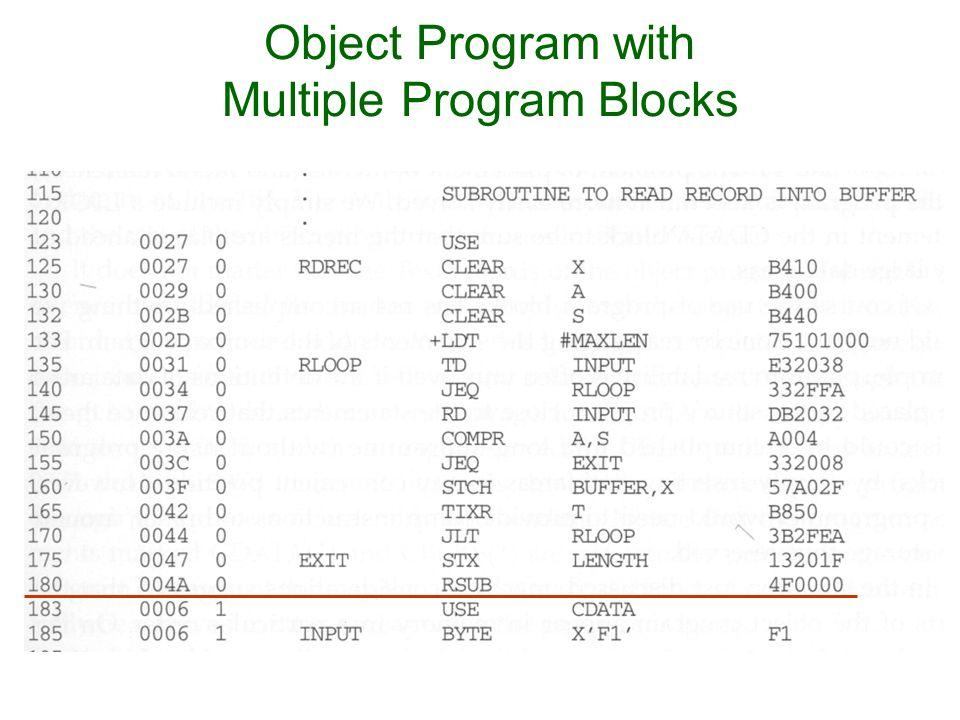 Object Program with Multiple Program Blocks