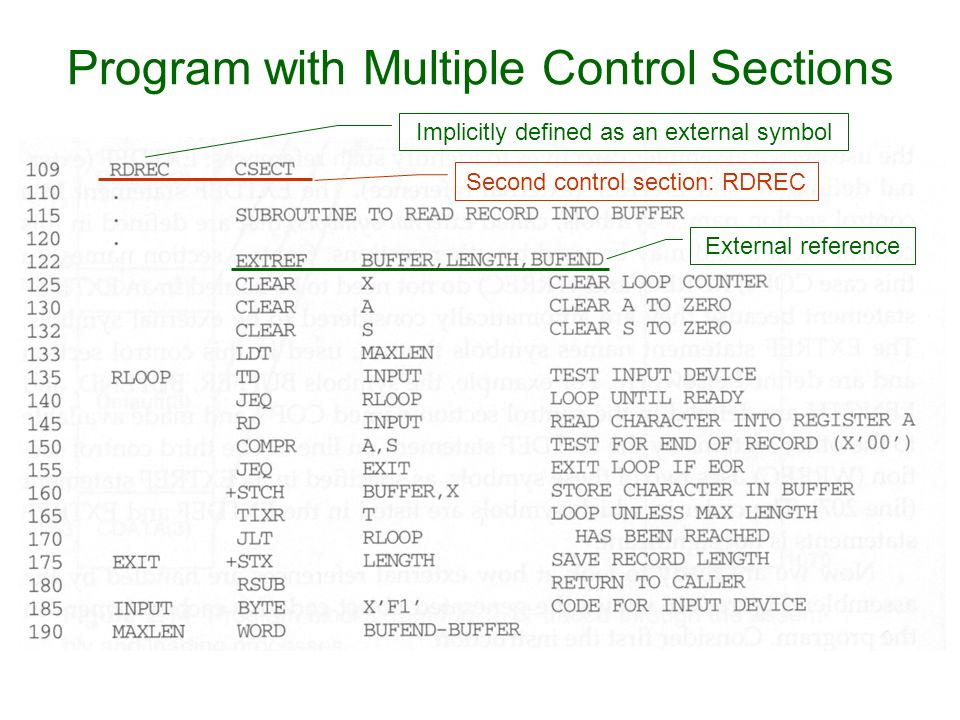 Program with Multiple Control Sections