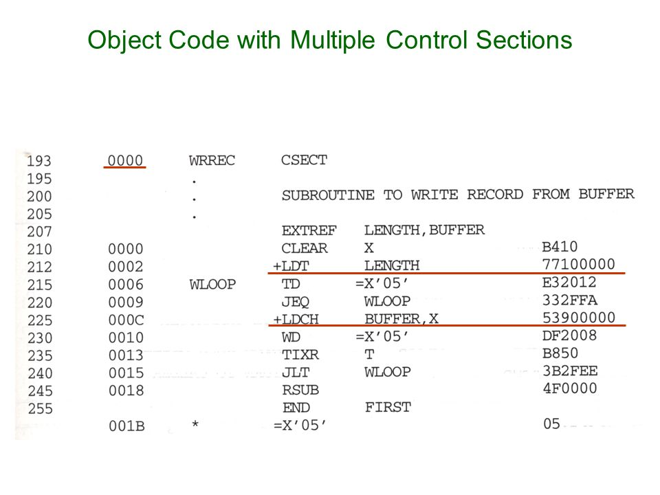Object Code with Multiple Control Sections