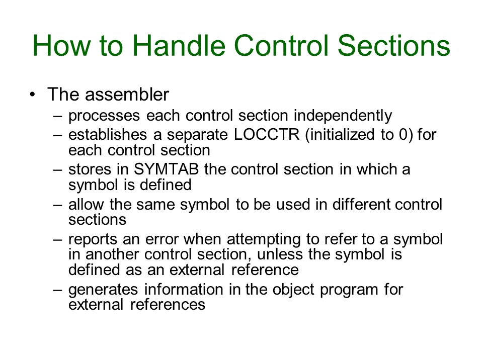 How to Handle Control Sections