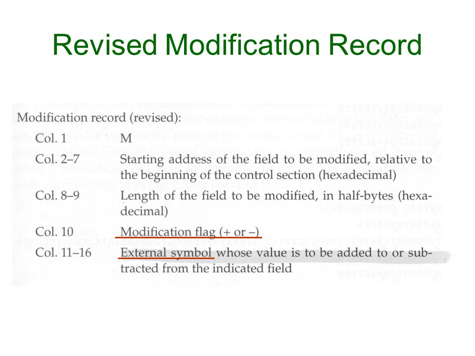 Revised Modification Record