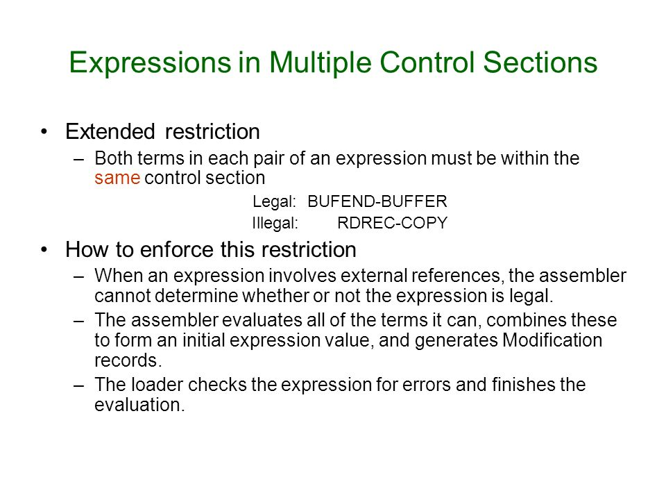 Expressions in Multiple Control Sections