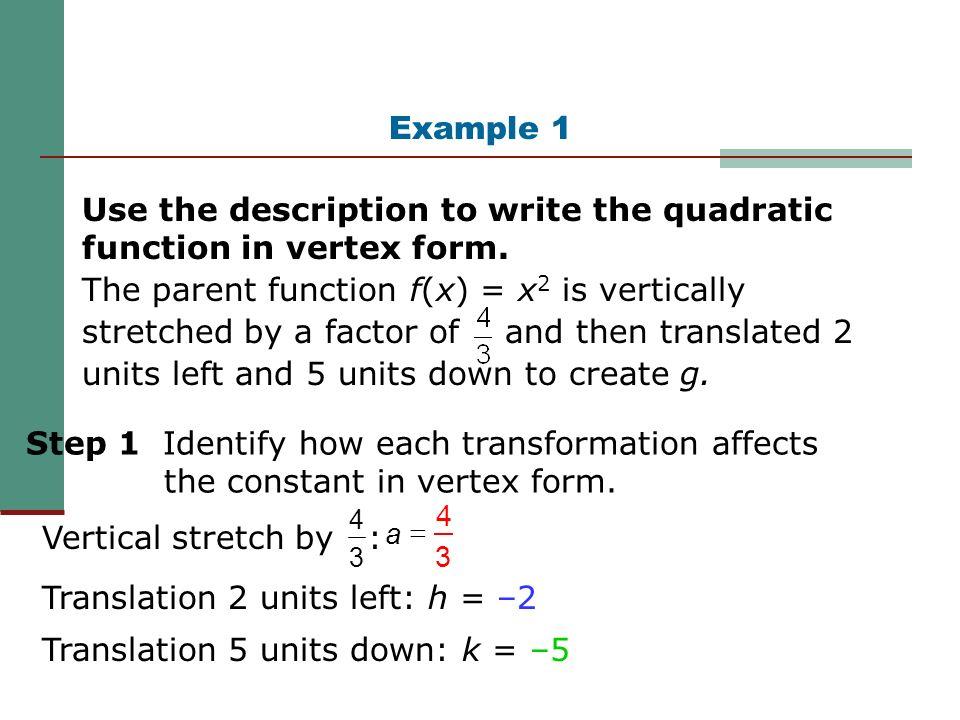 Quadratic Functions Vertex Form. - ppt video online download