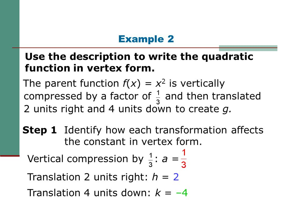 Quadratic Functions Vertex Form. - ppt video online download