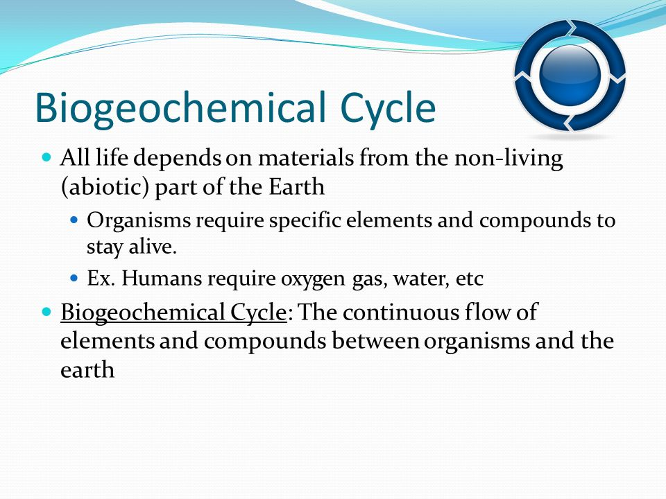 Biogeochemical Cycle All life depends on materials from the non-living (abiotic) part of the Earth.
