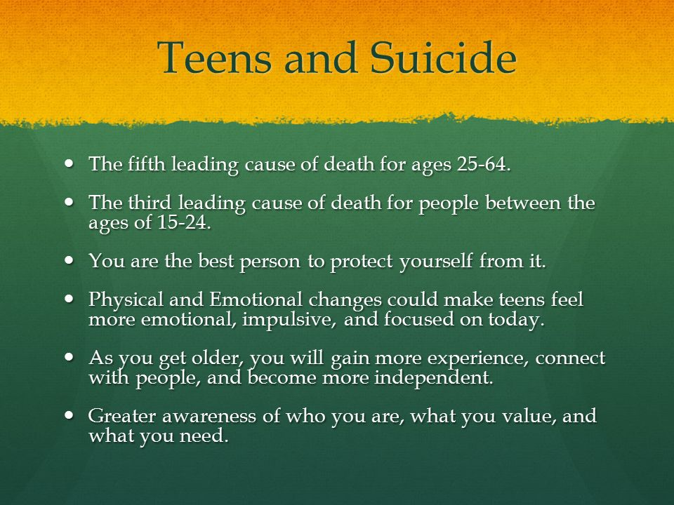 teen suicide fourth leading cause of The global suicide rate stands at 145 deaths per 100,000, with suicide the fourth leading cause of death in the 15 to 19 age group however, in the tamil nadu study, suicide was the number one cause of death among these adolescents.