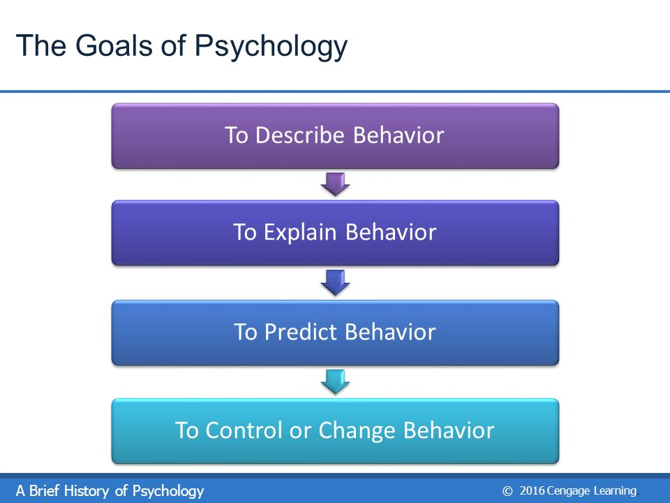 four goals psychology There's no voodoo magic involved the four main goals of psychology are to describe, explain, predict and control the behavior and mental processes of others.