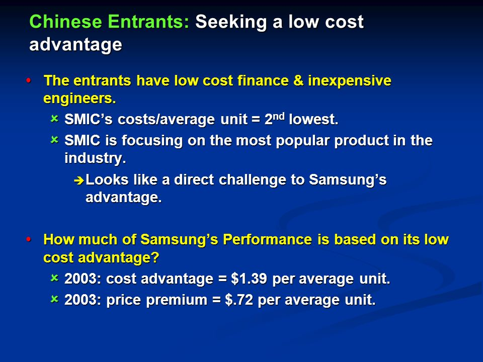 Samsung Electronics Case Study - What Kind of Advantage Are the Chinese Entrants Seeking?
