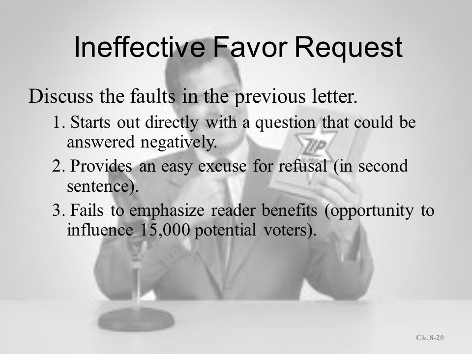 Letters and memos that persuade ppt download ineffective favor request spiritdancerdesigns Gallery