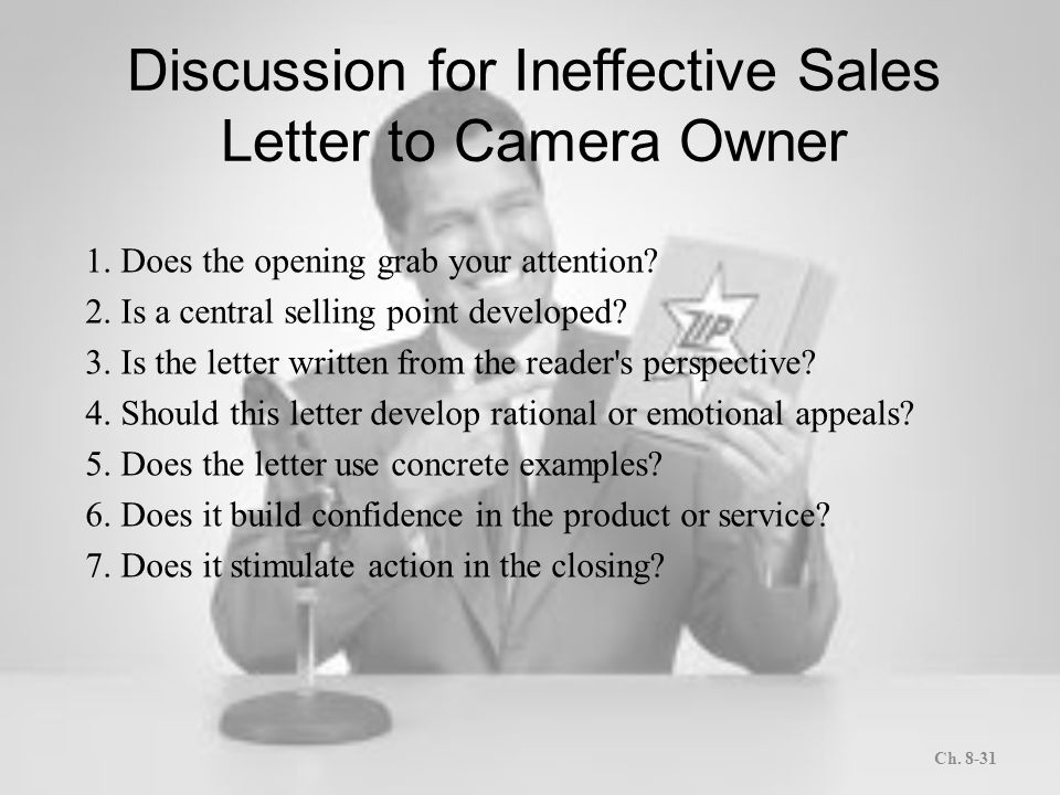 Letters and memos that persuade ppt download discussion for ineffective sales letter to camera owner spiritdancerdesigns Gallery