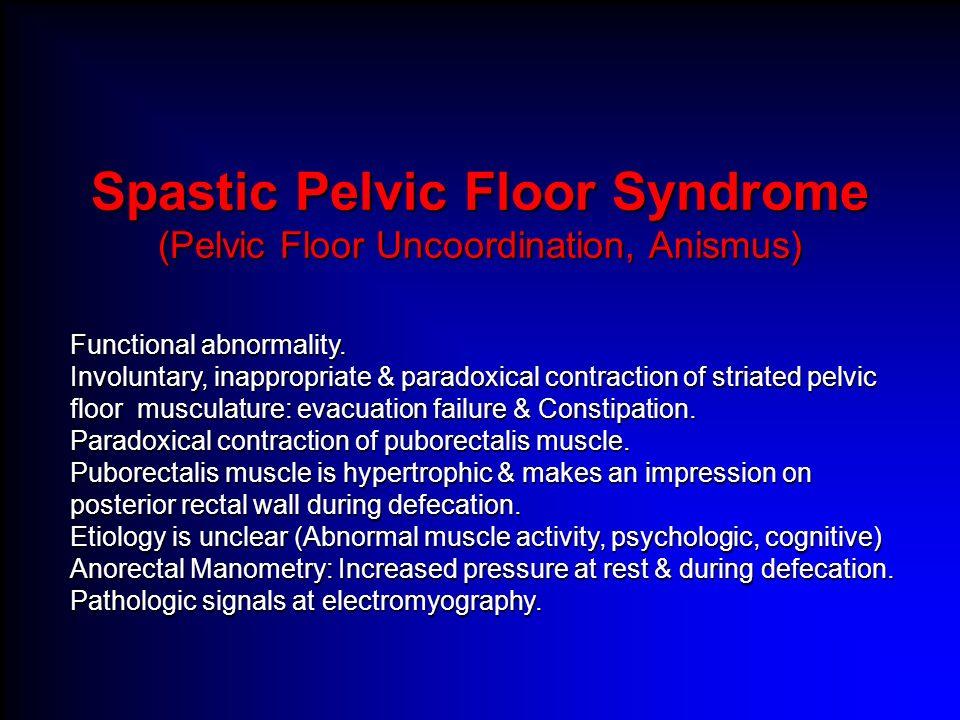 Spastic Pelvic Floor Syndrome (Pelvic Floor Uncoordination, Anismus)