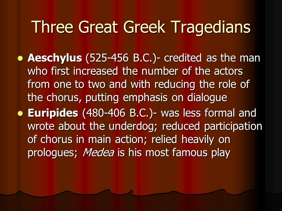 medea chorus role Thus i can say that both attitude and behaviour of medea and role of women in chorus ,his tragedy can be seen as first feminist play in medea he also gave place to another characters such as jason,creon,aegeus,mesenger,nurse,tutorin tragedy,there are speeches and songs.