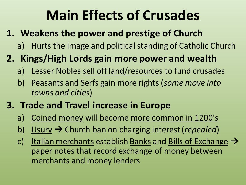 effects of the crusades essay Impact of the crusades dbq write a well-organized essay proving your thesis description of some of the effects of the crusades.