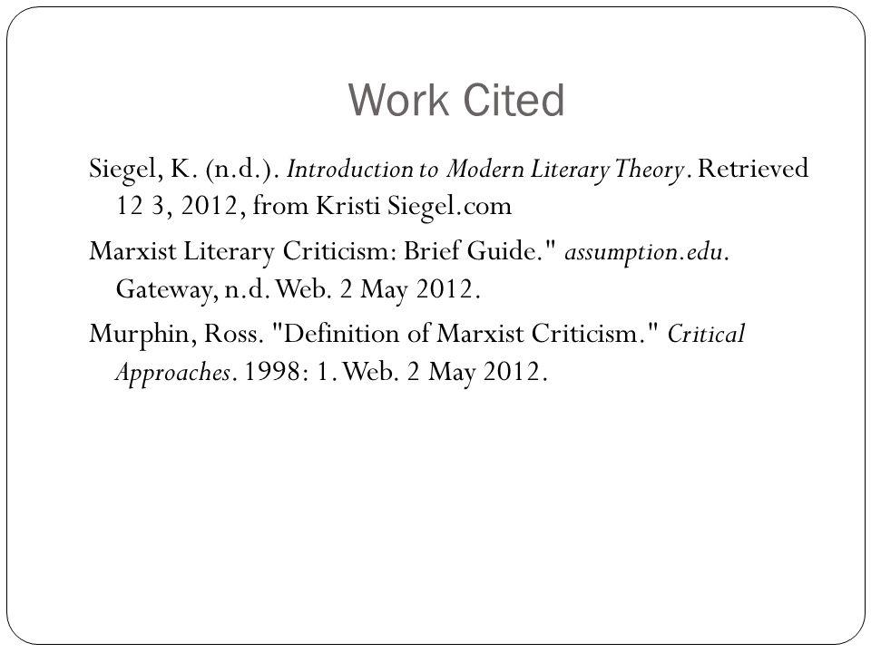 Introduction To Modern Literary Theory Kristi Siegel 1 ...