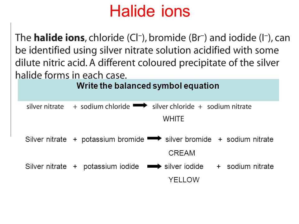 Halide Ions as Reducing Agents