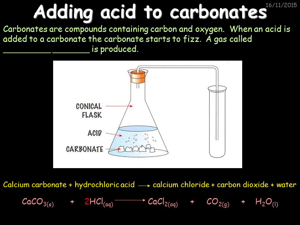 What happens when calcium is added to hydrochloric acid?