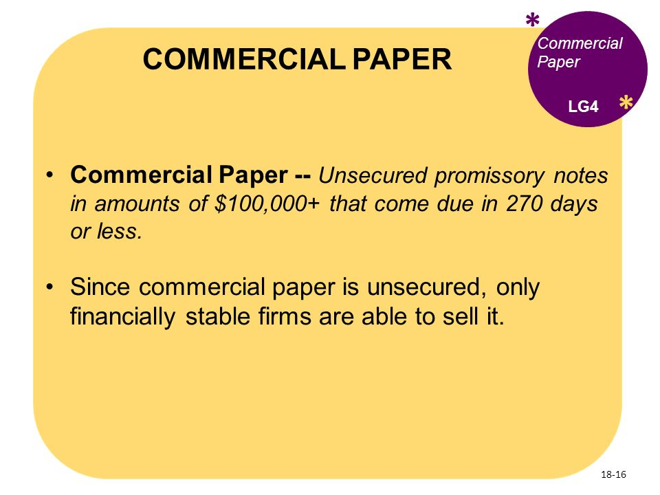 short term sources of finance commercial paper The main sources of short-term financing are (1) trade credit, (2) commercial bank loans, (3) commercial paper, a specific type of promissory note, and (4) secured loans trade credit a firm.