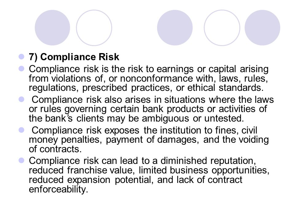7) Compliance Risk