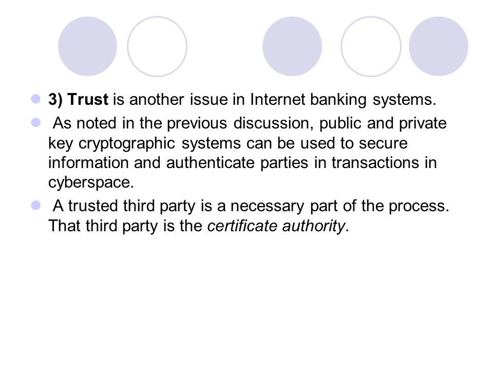3) Trust is another issue in Internet banking systems.