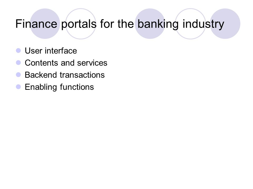 Finance portals for the banking industry