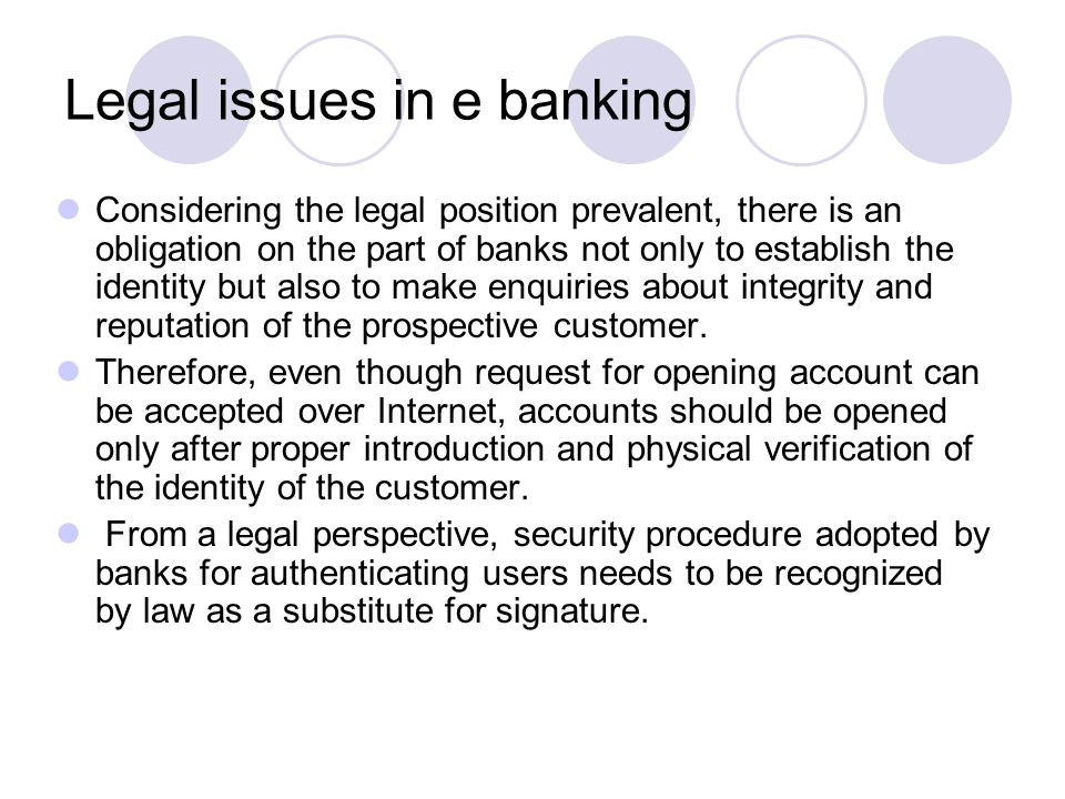 Legal issues in e banking