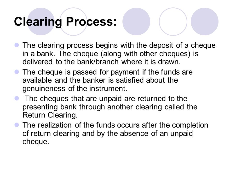Clearing Process: