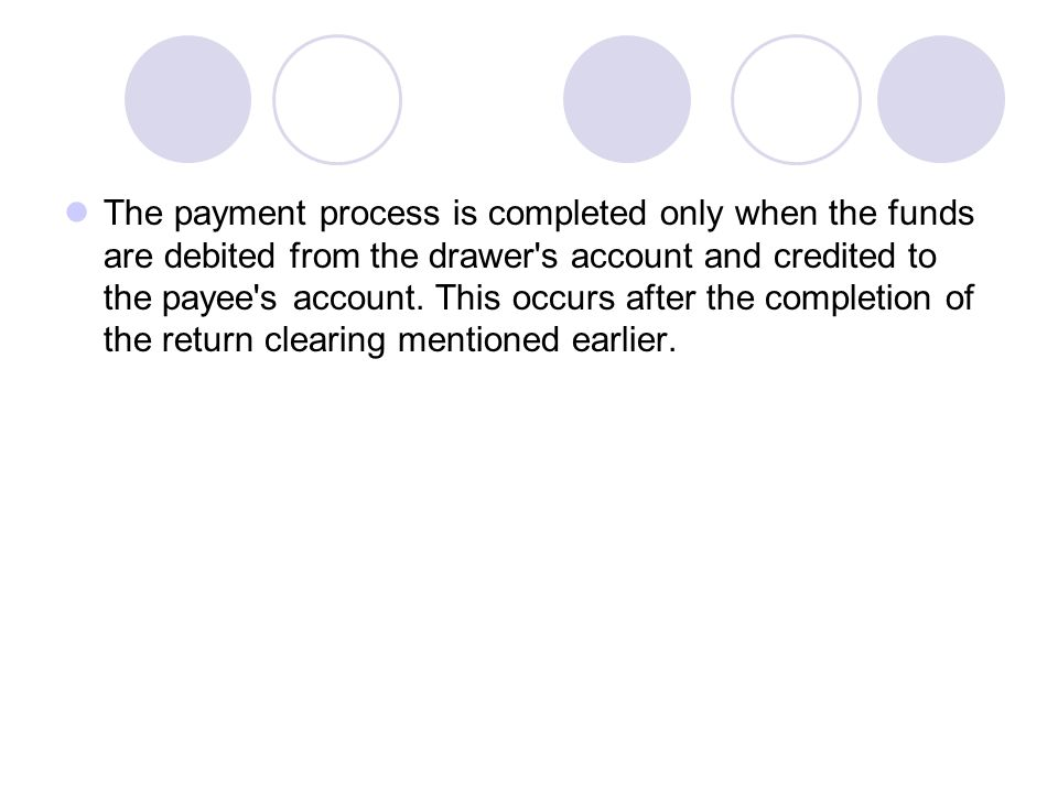 The payment process is completed only when the funds are debited from the drawer s account and credited to the payee s account.
