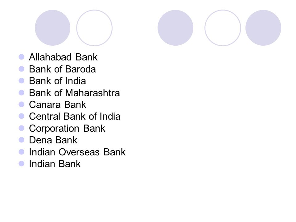 Allahabad Bank Bank of Baroda. Bank of India. Bank of Maharashtra. Canara Bank. Central Bank of India.