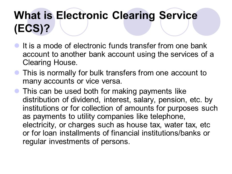 What is Electronic Clearing Service (ECS)