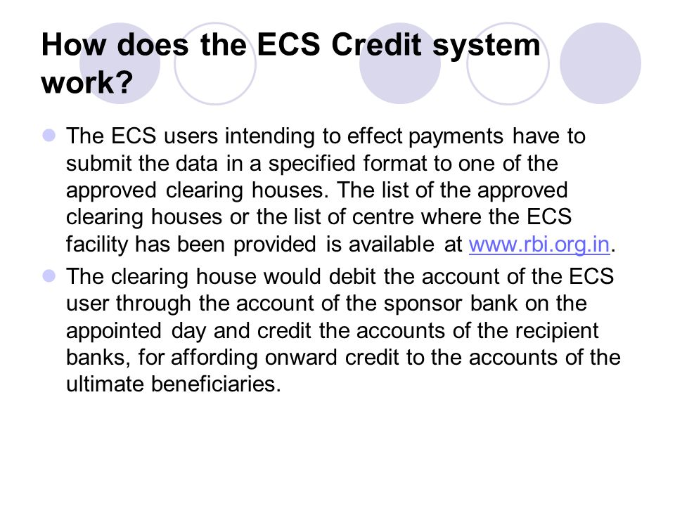 How does the ECS Credit system work