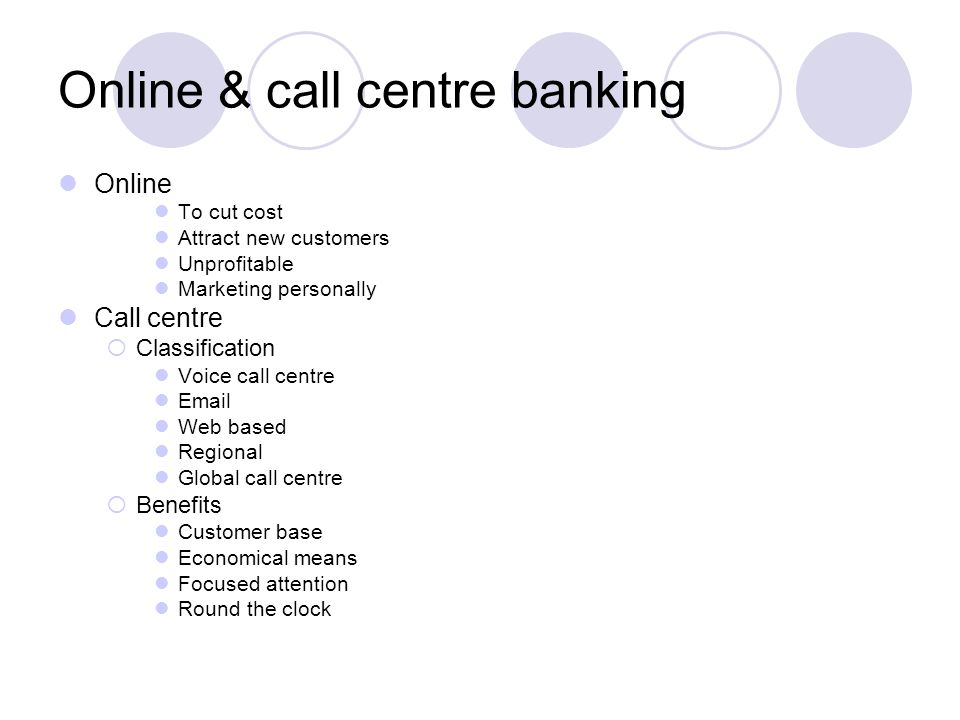 Online & call centre banking