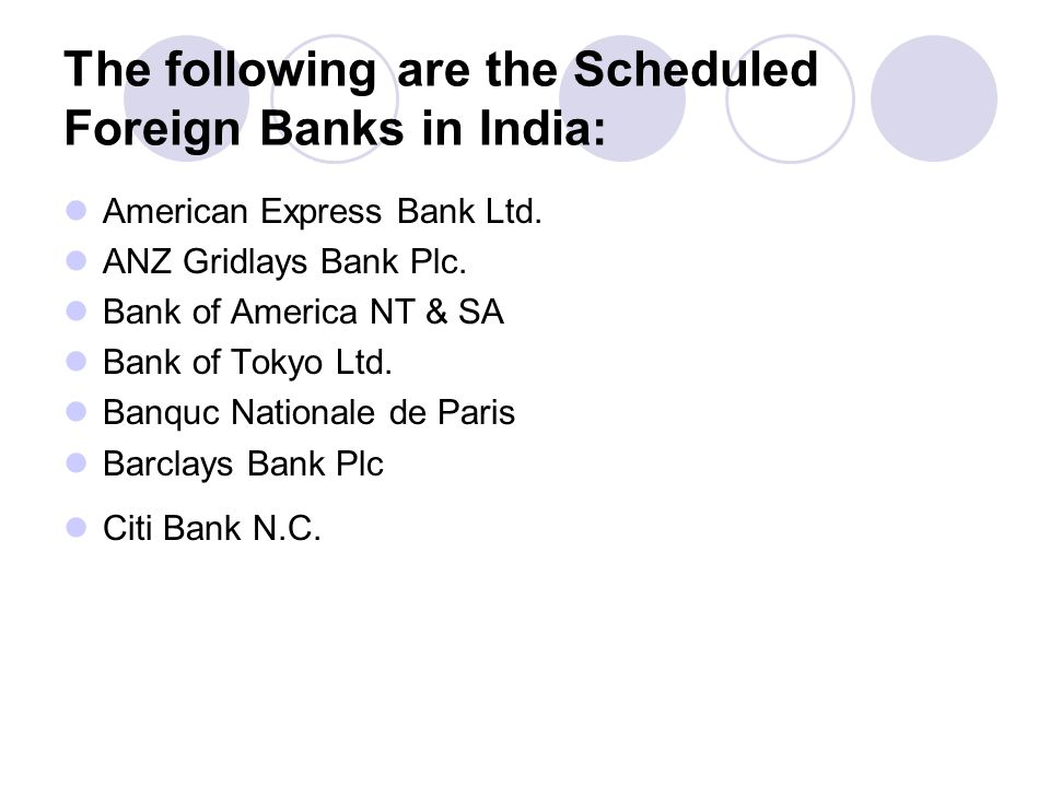 The following are the Scheduled Foreign Banks in India: