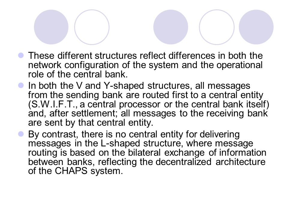 These different structures reflect differences in both the network configuration of the system and the operational role of the central bank.