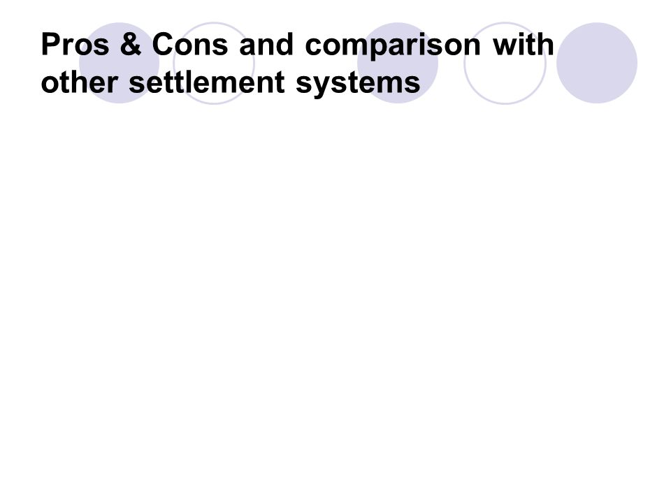 Pros & Cons and comparison with other settlement systems