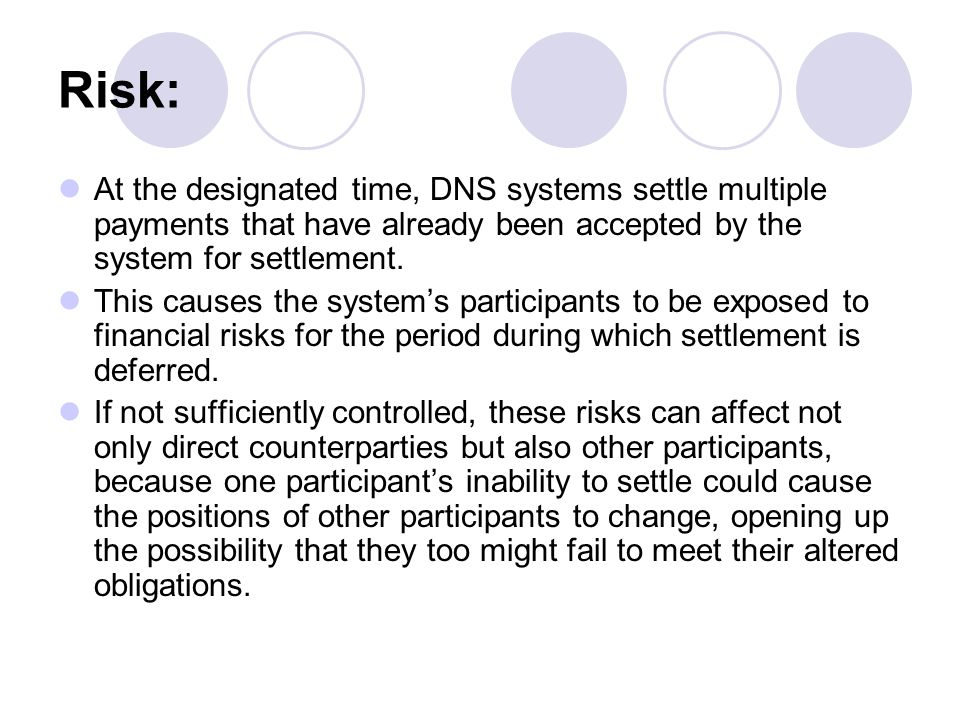 Risk: At the designated time, DNS systems settle multiple payments that have already been accepted by the system for settlement.