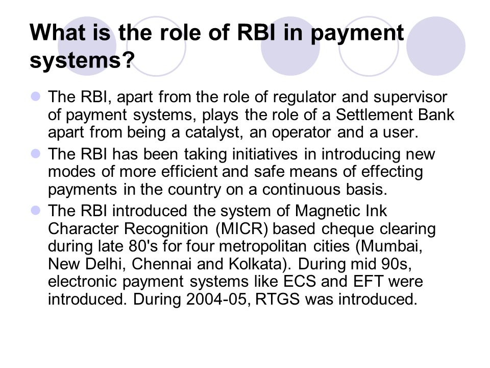 What is the role of RBI in payment systems