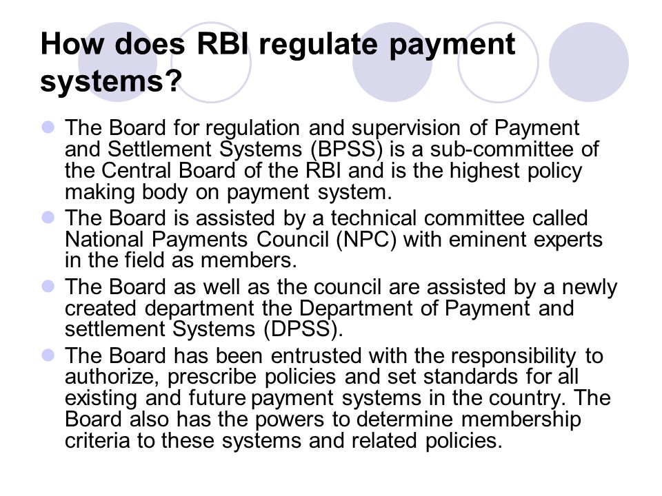 How does RBI regulate payment systems