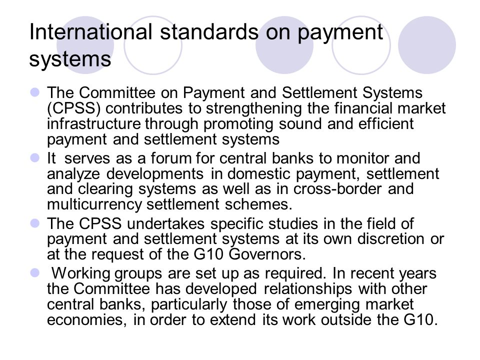 International standards on payment systems
