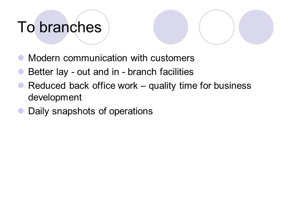 To branches Modern communication with customers