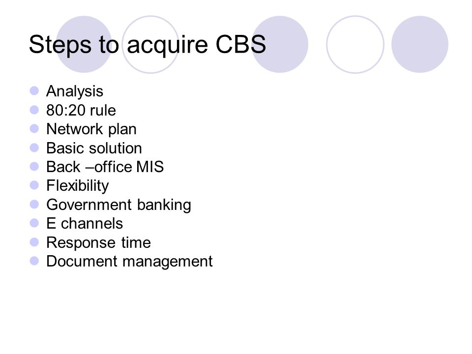 Steps to acquire CBS Analysis 80:20 rule Network plan Basic solution